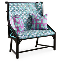 Taylor Burke Home, Kings Grant Bench, Turquoise/White, Bedroom Bench