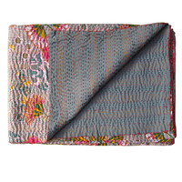 Gray Floral Kantha Quilt Throw Blanket