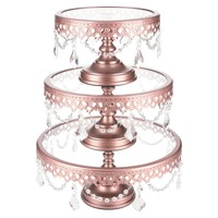 3-Piece Glass Top Crystal Cake Stand Set (Rose Gold)