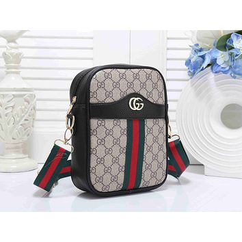 Gucci Fashion Women Shopping Bag Leather Red Green Stripe Shoulder Bag Crossbody Satchel Handbag Black I-KSPJ-BBDL