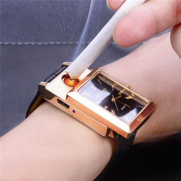 Flameless Windproof Cigarette Lighter Watches Rechargeable USB Lighter Men's Quartz Wristwatches