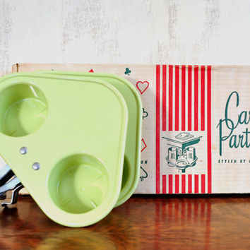 Vintage Drink Holder, Card Partners Clip On Trays for Card Tables, Drink Caddy, Beach Drink Holder, Camping Gear, Plastic Tray, Chartreuse