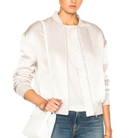 FRAME Denim Satin Bomber in Champagne | FWRD