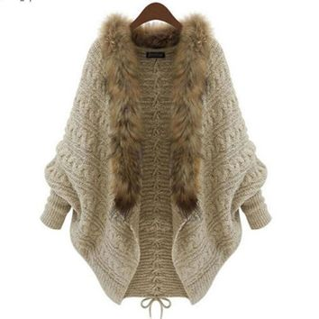 Womens Winter Loose Fur Collar Sweater Batwing Sleeve Knit Cardigan