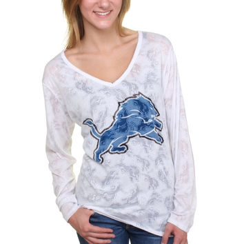Detroit Lions Women's Sublime Burnout V-Neck Long Sleeve T-Shirt – White