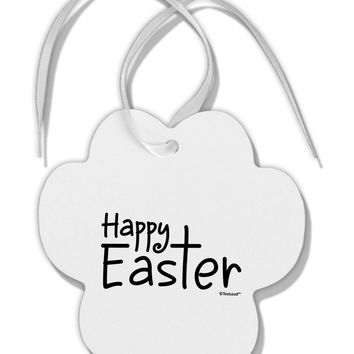 Happy Easter with Cross Paw Print Shaped Ornament by TooLoud