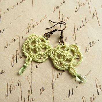 Handmade lace earrings retro rustic boho vintage inspired wedding bridesmaids jewelry- Mother's Day gift light green