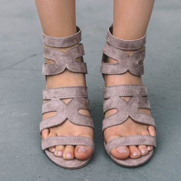 Attention Please Taupe Open Toe Heels