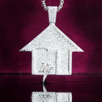 Iced Out Power Trap House Plug Pendant Box Chain