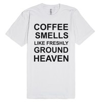 Heaven And Coffe-Unisex White T-Shirt