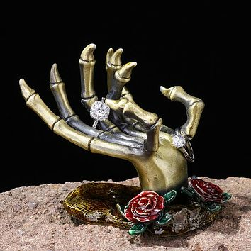 Rose Skeletal Hand Jewelry Holder Figurine Holds Rings Necklaces