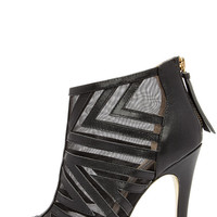Chinese Laundry Luscious Black Leather and Mesh Booties