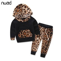 Leopard Baby Girl Clothes Newborn Infant Hooded Sweatshirt Tops+Pants 2Pcs Outfits Toddler Kids Cotton Lycra Clothing Set FF233
