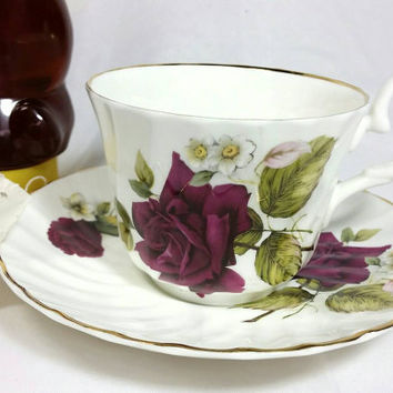 Vintage Allyn Nelson Collection Teacup and Saucer/Fine Bone China Tea cup and Saucer/Burgandy Rose Made in England Cup
