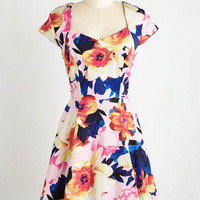 Mid-length Short Sleeves Fit & Flare Vouch for Vibrance Dress