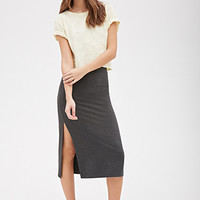 Heathered High-Slit Midi Skirt