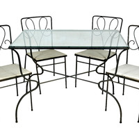 1950s Wrought Iron Table & 4 Chairs