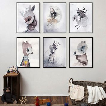 xdr1027 Canvas Prints Simple Nordic Decoration Nursery Girl Wall Art Watercolor Canvas Painting Cute Cartoon Rabbit Print poster