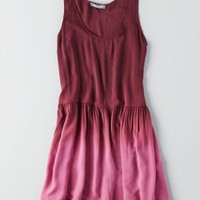 AEO Women's Don't Ask Why Ruffled Hem Dress (Burgundy)