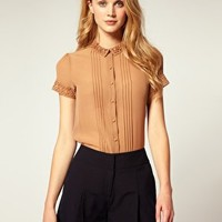 ASOS | ASOS Crochet Trim Button Blouse at ASOS