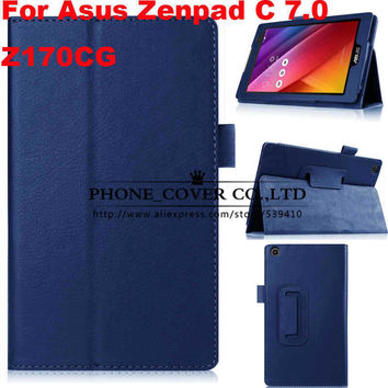 "Magnet Stand litchi flip leather case cover For Asus Zenpad C 7.0 Z170CG Z170C 7"" Tablet skin cases"