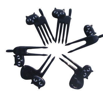 6pcs set Black Cat Fruit fork cute cartoon baby fork kitten easy decoration dessert fork Kitchen Bar supply