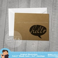 Set of Six, Hello Note Cards, 5x7 White Envelope, Recycled, Blank Kraft Greeting Card, Great for any use
