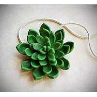 Deep Green Miniature Succulent Polymer Clay Necklace