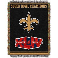 "New Orleans Saints NFL Super Bowl Commemorative Woven Tapestry Throw (48""x60"")"