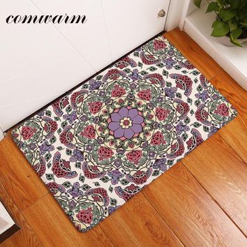Autumn Fall welcome door mat doormat Comwarm in Front of s Psychedelic Dizzy Indian Mandala Geometric Floral Rugs Durable Modern Bedroom Bedside Foot Pads AT_76_7