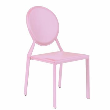 Valencia Ave All Leather Side Chair Set of 2 - PINK