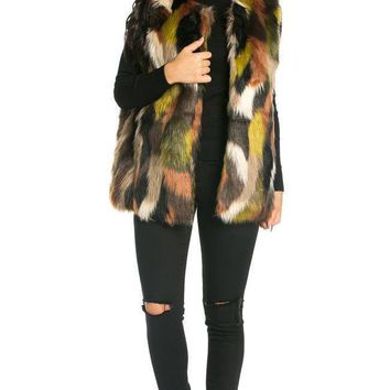 Boxy Faux Fur Vest in Olive