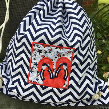 Personalized Backpack,Kid Bag,Waterproof lining,Monogrammed Bag,Swim Bag,Dance Bag,Summer Bag,Fourth of July Colors,Navy Chevron Backpack