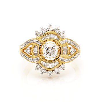 Solitaire Engagement Ring in 18Kt Yellow Gold and 1.18Ct diamonds with 0.41 ct solitaire