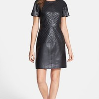 Halogen Quilt Detail Leather & Ponte Knit Dress (Online Only)