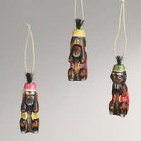 See, Speak, and Hear No Evil Wood Monkey Ornaments, Set of 3