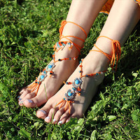 Hippie barefoot sandals Gypsy footless sandles Boho foot jewelry Bare feet nude shoes Bohemian festival anklet Yoga bottomless sandal