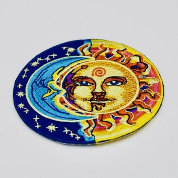 Psychedelic Sun & Moon Patch Embroidered Iron On Patches