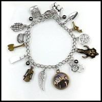 supernatural inspirational CHARM BRACELET tv jewelry dean sam davils protection winchester BF225