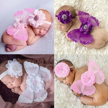 2017 Colorful Baby Bebe Girl Clothes Newborn Infant Headband+Feather Wing Clothing Set Headbands+Hot Wings Photography Props