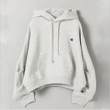 Champions autumn and winter new men and women wear fleece quality sweater Gray