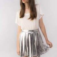 Silver Metallic Skater Skirt