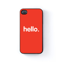 Hello Black Hard Plastic Case for Apple iPhone 4 / 4s by textGuy