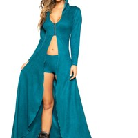 Roma Rave 3756 - 2pc Suede Hooded Robe with Zipper Closure and Shorts