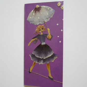 "Handmade greeting card ""Fortune favors the brave"" - Decorated with dried pressed flowers and herbs - Original art collage."