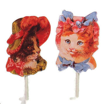Vintage Cats in Hats Cupcake Toppers Food Picks, Birthday Party Decorations, Victorian Cats, Cat Birthday Party,Baby Shower Decor,Cat Lovers