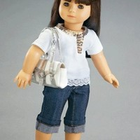 "Silver Shimmer Outfit with Tights and Sparkly Top - Fits 18"" American Girl Fashion Doll Clothes"