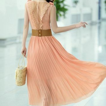 free belt rose pink elegant maxi dress lace evening final clearance g968 from YRBstyle