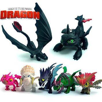 7pcs/set Anime How To Train Your Dragon 2 Action Figure Toys Night Fury Toothless Dragon PVC Figures Toys for Boys