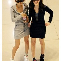 Grey Cotton Hooded Long Sleeve Zip Free Size Casual Fitting Dress@A8086g